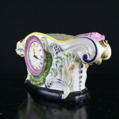 English pearlware pocket watch holder, clock face, c.1820 -9108