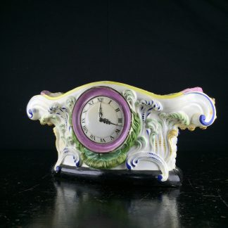 English pearlware pocket watch holder, clock face, c.1820 -0