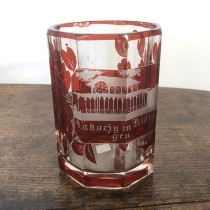 Bohemian ruby flash spa beaker, with named view, c. 1870-0