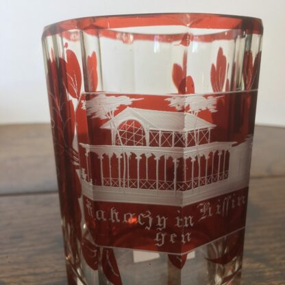 Bohemian ruby flash spa beaker, with named view, c. 1870-24598
