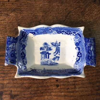 Staffordshire pickle dish, willow pattern, c.1820-0