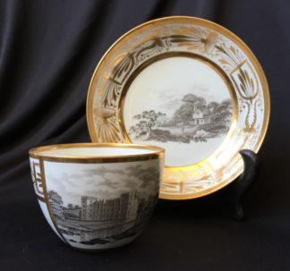 Spode Bat printed cup & saucer c.1802-1810 -0