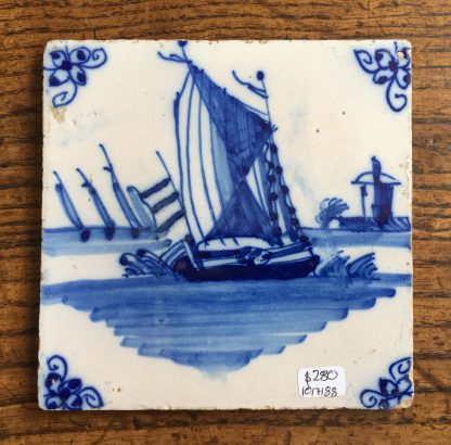 Dutch Delft tile, fishing boat, c. 1725 -0