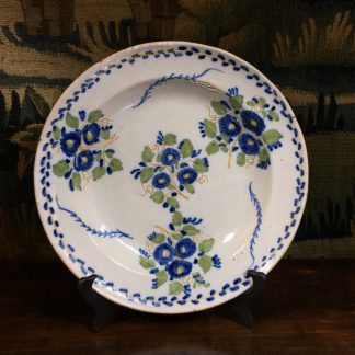 Dutch Delft charger, large flower group, c. 1790 -0