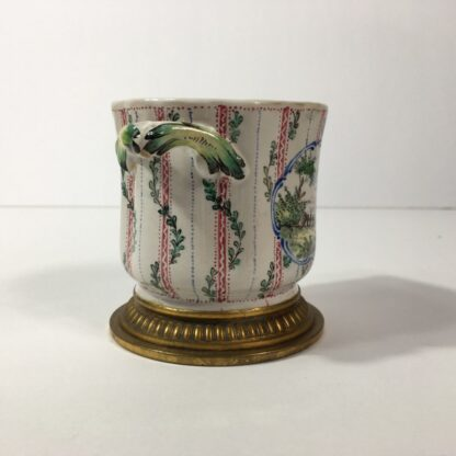 French faience small cache pot, ormolu mounts & mock-Marsaille mark, 19th century -23257