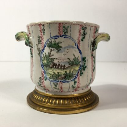 French faience small cache pot, ormolu mounts & mock-Marsaille mark, 19th century -23256