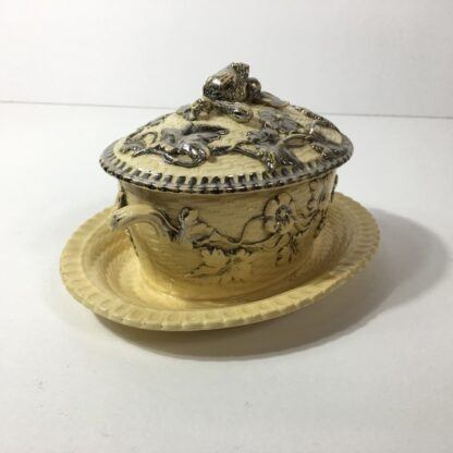 Yellow glaze pottery tureen in the English salt glaze tradition, C. 1860 -0