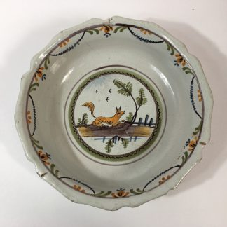 French faience basin with fox, c 1760-0