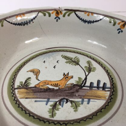 French faience basin with fox, c 1760-23216
