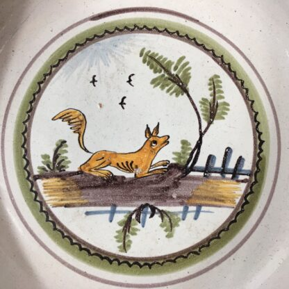 French faience basin with fox, c 1760-23218