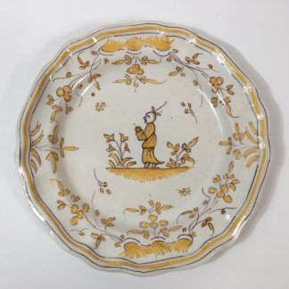 French faïence plate, Chinoiserie in yellow & black, probably Marseilles, c.1780 -0