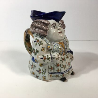 French faience Jacqueline character jug, 18th/19th century -0