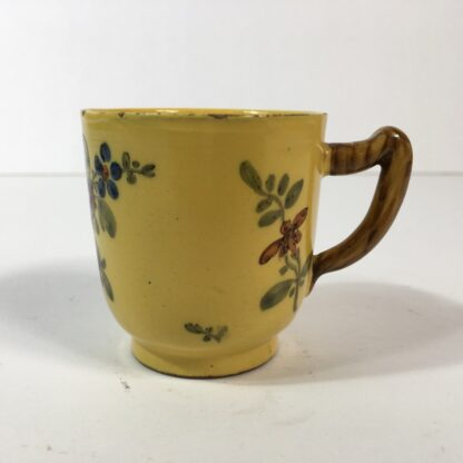 French faïence coffee cup, yellow ground with twig handle, Marseilles c. 1770 -0
