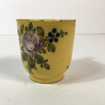 French faïence coffee cup, yellow ground with twig handle, Marseilles c. 1770 -23174