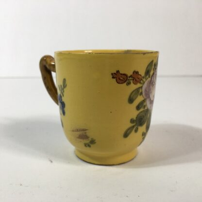French faïence coffee cup, yellow ground with twig handle, Marseilles c. 1770 -23176
