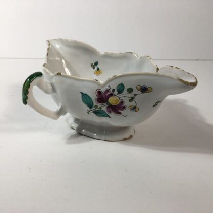French faience double spouted sauce boat, flower dec, c.1780 -23170