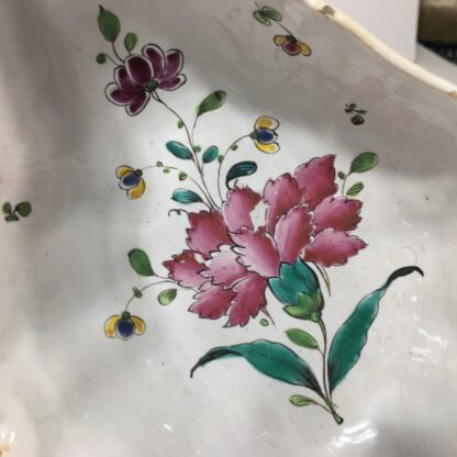 French faience double spouted sauce boat, flower dec, c.1780 -23172