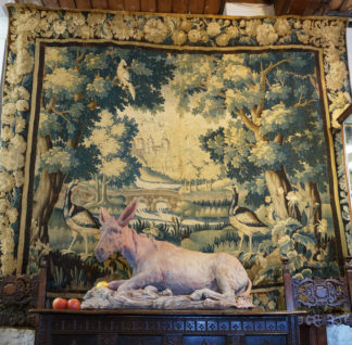 Large Aubusson tapestry with wooded landscape & birds, C. 1690 -0