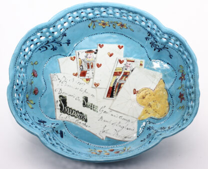 English enamel card tray, trompe l'oeil of cards, guineas and £100 bank note, c. 1770 -0
