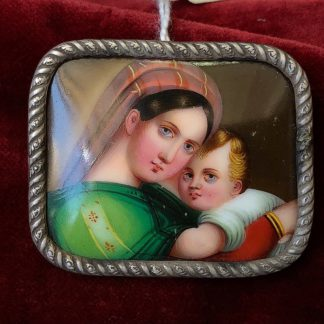 Porcelain plaque, after Raphael, mounted as a brooch, C. 1880 -0