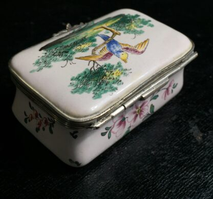 French faience box with birds & flowers, circa 1880 -10532