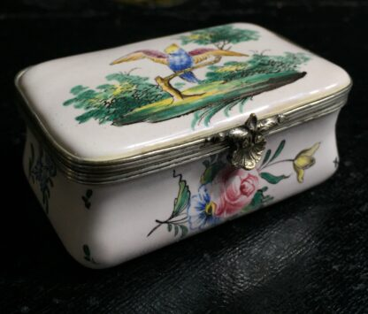 French faience box with birds & flowers, circa 1880 -0
