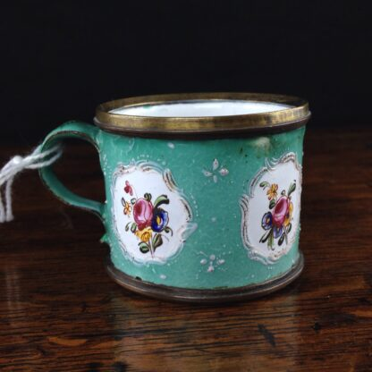 Unusual small English enamel cup, South Staffordshire, C. 1780-0