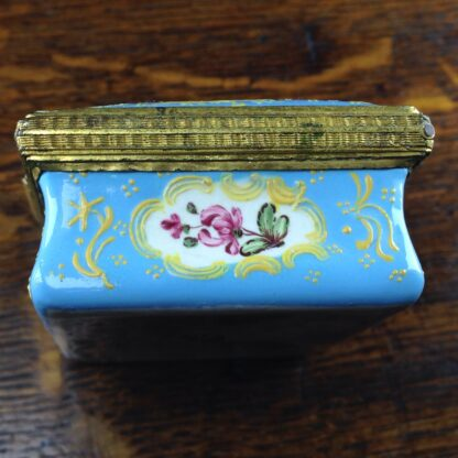 South Staffordshire enamel snuff box, pale blue ground with panels of scenes and flowers, c.1765 -5036