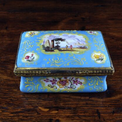 South Staffordshire enamel snuff box, pale blue ground with panels of scenes and flowers, c.1765 -5039