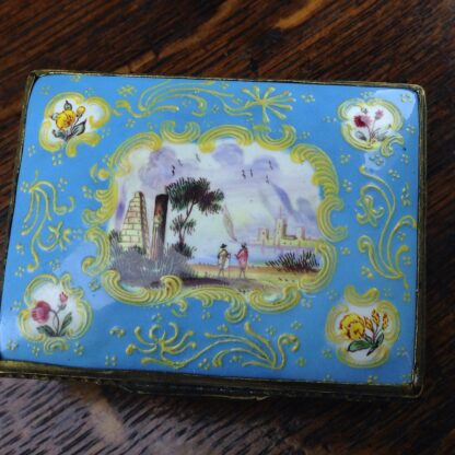 South Staffordshire enamel snuff box, pale blue ground with panels of scenes and flowers, c.1765 -5040