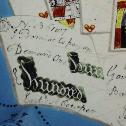 English enamel card tray, trompe l'oeil of cards, guineas and £100 bank note, c. 1770 -5069