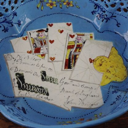 English enamel card tray, trompe l'oeil of cards, guineas and £100 bank note, c. 1770 -5070