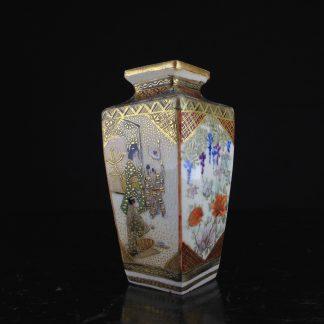 Satsuma square vase, domestic scene, c.1900-0