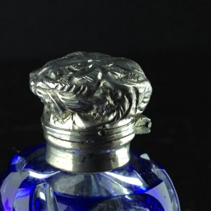 Victorian blue overlay glass perfume bottle with Silver top, c.1880-5256