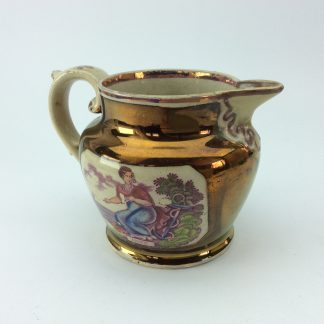 Victorian lustre jug, Hope print with purple lustre, c. 1820 -0
