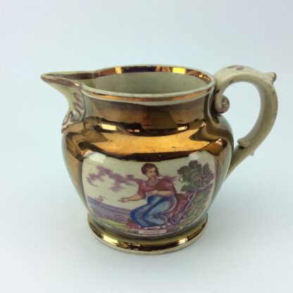 Victorian lustre jug, Hope print with purple lustre, c. 1820 -5294