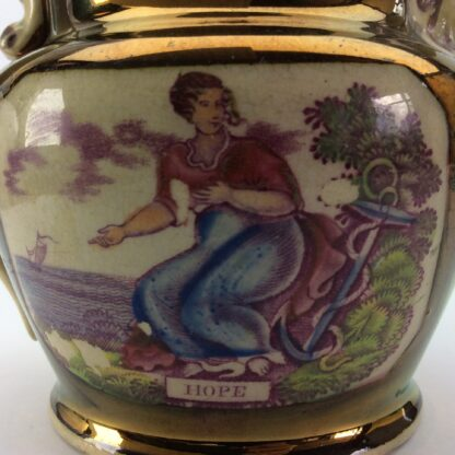 Victorian lustre jug, Hope print with purple lustre, c. 1820 -5296
