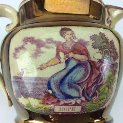 Victorian lustre jug, Hope print with purple lustre, c. 1820 -5297