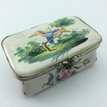 French faience box with birds & flowers, circa 1880 -5307