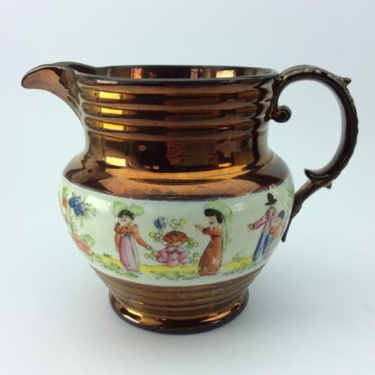 Victorian copper lustre jug, children in garden & copper lustre, c.1830 -0