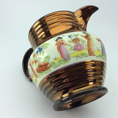 Victorian copper lustre jug, children in garden & copper lustre, c.1830 -5327