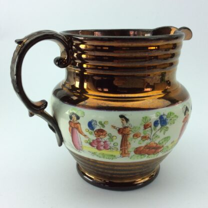 Victorian copper lustre jug, children in garden & copper lustre, c.1830 -5328