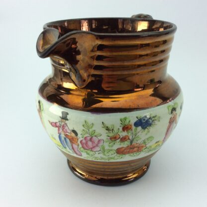 Victorian copper lustre jug, children in garden & copper lustre, c.1830 -5330