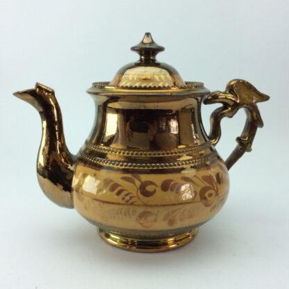 Victorian copper lustre teapot, C 1850.-6419