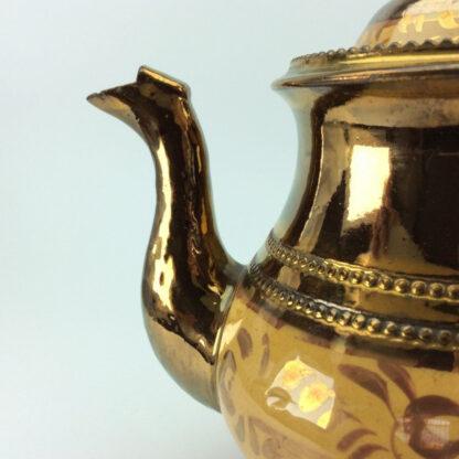 Victorian copper lustre teapot, C 1850.-6426