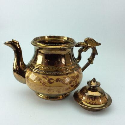 Victorian copper lustre teapot, C 1850.-6423