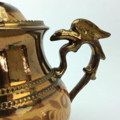 Victorian copper lustre teapot, C 1850.-6424