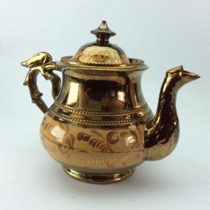 Victorian copper lustre teapot, C 1850.-6420