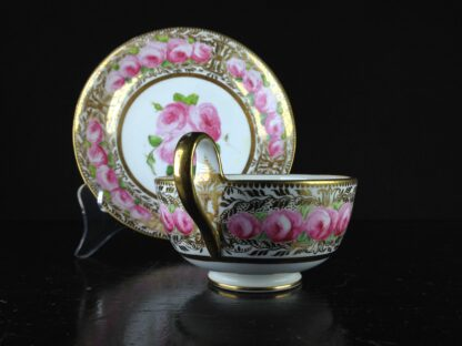 Coalport cup & saucer dec. with roses in the Welsh manner, c.1825 -5378