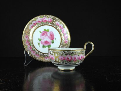 Coalport cup & saucer dec. with roses in the Welsh manner, c.1825 -0